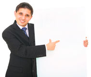 Business Man Holding White Board royalty free stock photos