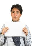 Business man holding a white card Stock Image