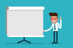 Business Man holding whiteboard - presentation. Stock Photo