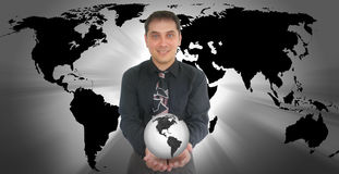Business Man Holding World Earth Royalty Free Stock Photos