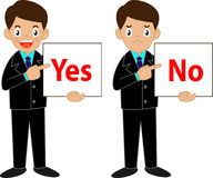 Business man  holding Yes or No sign. Business man character holding Yes or No sign Royalty Free Stock Image