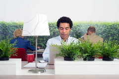 Business man at hot desk Stock Photography