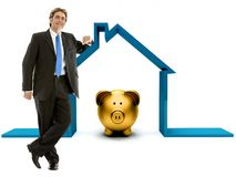 Business man house budget Royalty Free Stock Image