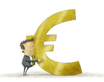 Business man hugging euro sign. Illustration of business man hugging euro sign Royalty Free Stock Image