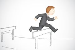 Business Man in Hurdle Race. Illustration of 3d business man in vector running in hurdle Royalty Free Stock Photo