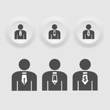 Business man  icon set in black color button frame. Royalty Free Stock Images