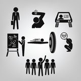 Business man icons. Marketing people icon set on gray background Stock Photo