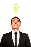 Business man with an idea. Young handsome business man with an idea royalty free stock photography