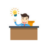 Business man with idea. Business man with lamp. find new ideas Stock Images