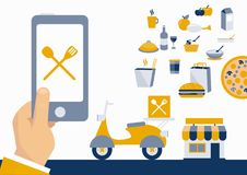 Ordering food online with mobile app Royalty Free Stock Images