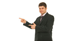 Business man indicate to copy space Stock Photo