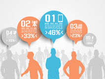 Business man infographic ortion three 3 orange Stock Image