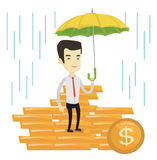 Business man insurance agent with umbrella. Asian business man insurance agent with umbrella. Insurance agent holding umbrella over coins. Business insurance stock illustration