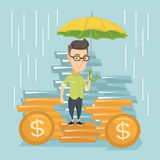 Business man insurance agent with umbrella. Caucasian business man insurance agent. Insurance agent holding umbrella over golden coins. Business insurance and vector illustration