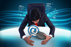 Business man with internet security concept. In color background Royalty Free Stock Photos
