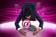 Business man with internet security concept. In color background Royalty Free Stock Photography