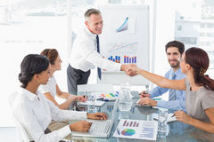 Business man introducing new employee Stock Photo