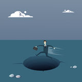 Business Man On Island In Sea Water Need Help Concept Financial Crisis. Flat Vector Illustration Royalty Free Stock Image