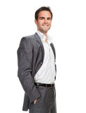 Business man isolated over white background royalty free stock photo