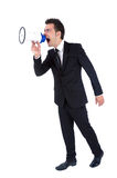 Business man isolated. Isolated young business man with loudspeaker Royalty Free Stock Image