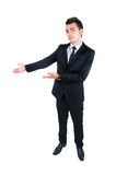 Business man isolated. Isolated young business man presenting Royalty Free Stock Photos
