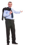 Business man with jacket over shoulder presents in the back Stock Photography