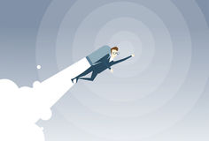 Business Man With Jet Pack Project Successful Startup Flying Businessman. Flat Vector Illustration stock illustration