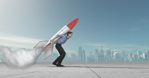 Business man with jet pack rocket. Business man holding jet pack rocket above the city concept. This is a 3d render illustration Stock Image