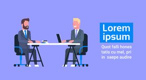 Business Man On Job Interview With Hr Manager, Two Businessmen Sitting At Office Desk On Meeting. Flat Vector Illustration royalty free illustration