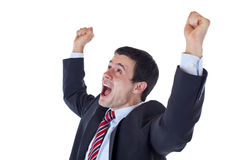 Business man jubilates with raised clenched fists royalty free stock image