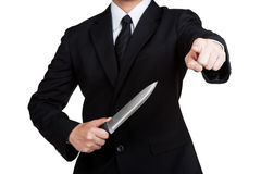 Business man Judas hold knife Royalty Free Stock Images