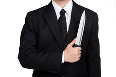 Business man Judas hold knife Stock Photography