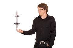 Business man juggling with dumbbell Stock Photography