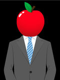 Business man with juicy apple head Royalty Free Stock Photos