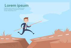 Business Man Jump Dangerous Mountain Gap Risk Concept. Flat Vector Illustration Royalty Free Stock Image
