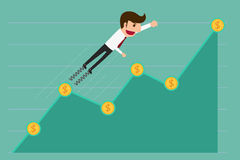 Business man jump over growth graph. Royalty Free Stock Photography
