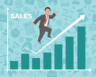 Business man jump over growth graph. Concept business vector illustration Royalty Free Stock Photos