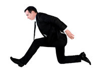 Business man jump side Stock Photo