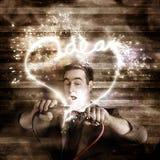Business man jump starting a neon idea light bulb Stock Photo