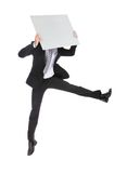 Business man jumping and holding billboard Royalty Free Stock Images