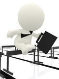 Business man jumping hurdle Stock Images