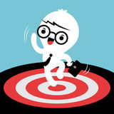 Business man jumping with target on the floor Royalty Free Stock Photography