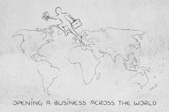 Business man jumpying across continents on map of the world Royalty Free Stock Photo