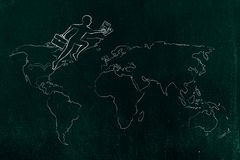 Business man jumpying across continents on map of the world. Concept of establishing a company or invest abroad: business man jumpying across continents on map royalty free stock image
