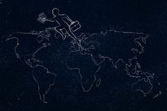 Business man jumpying across continents on map of the world Stock Images