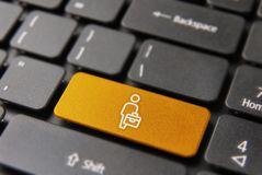 Business man worker on computer keyboard button Royalty Free Stock Photo