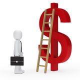 Business man ladder dollar red Royalty Free Stock Images