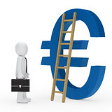 Business man ladder euro blue Royalty Free Stock Image