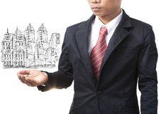 Business man and land management Stock Photo