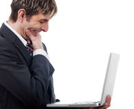 Business man with a laptop Royalty Free Stock Photos